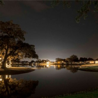 Brazoria Lakes RV Resort lake view at night