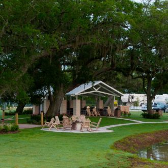 Brazoria Lakes RV Resort bbq and picnic area