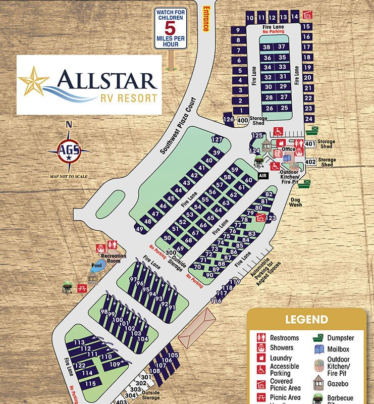 AllStar RV Resort Park Map