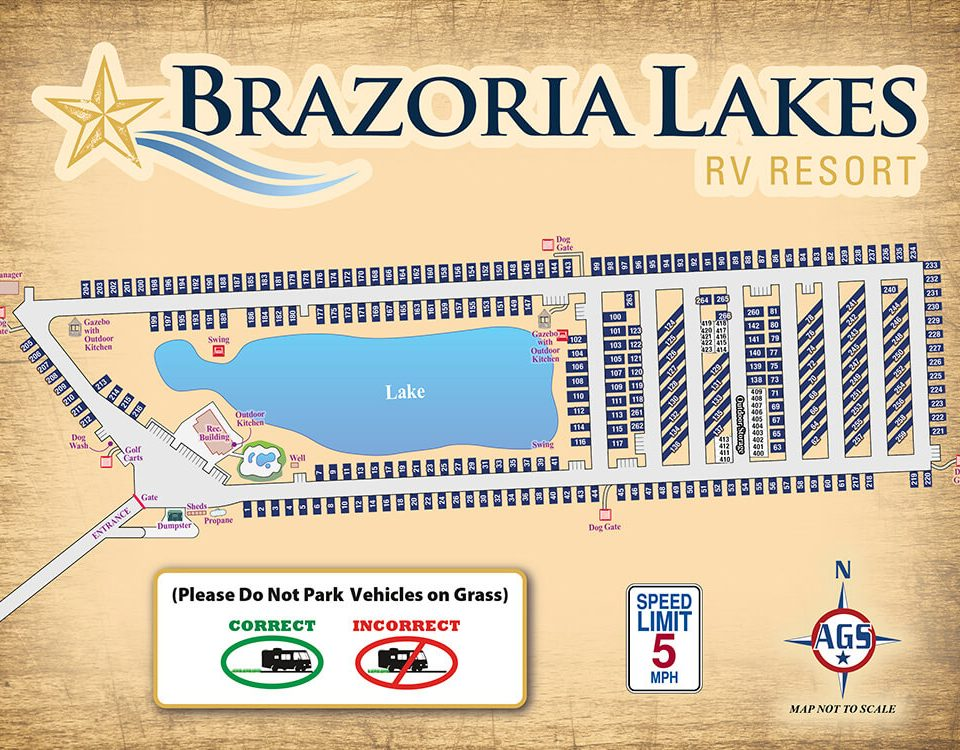 Brazoria Lakes RV Resort Park Map