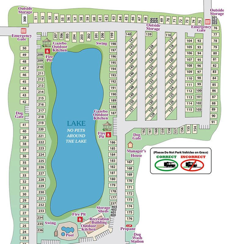 Greenlake RV Resort Park Map