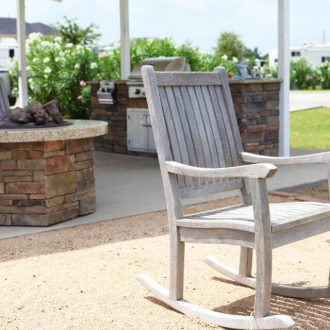 WestLake RV Resort rocking chairs and firepit and kitchen