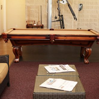 WestLake RV Resort pool table and seating area