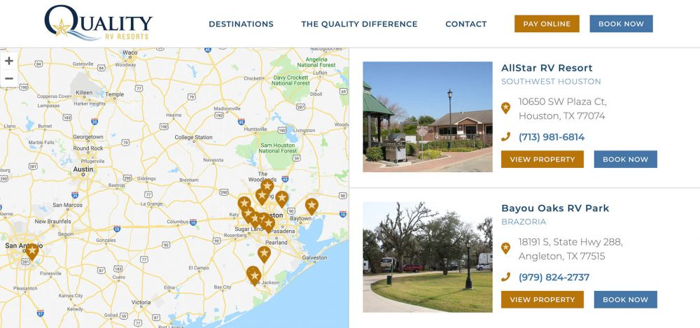 Quality RV Resorts - real time bookings